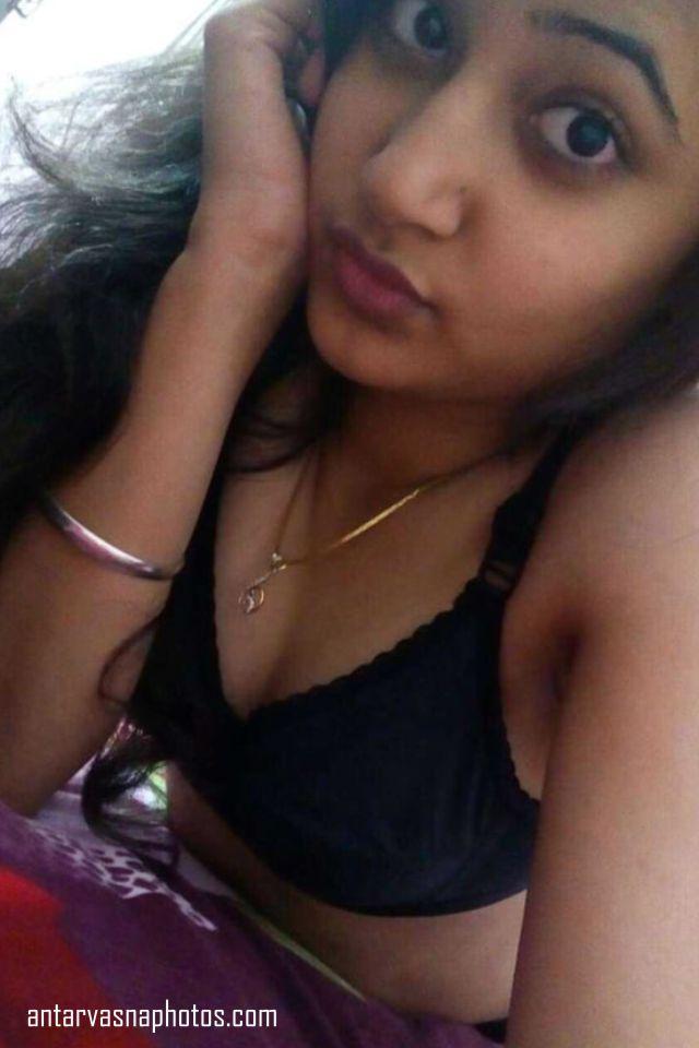 alka black bra me selfie